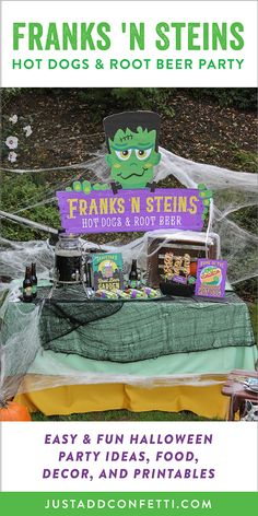 Welcome to Franks 'n Steins...home of the Haunted Hot Dog and a Graveyard Root Beer Garden that's to die for! This Frankenstein Halloween party is so much fun! Full of easy Halloween party ideas, decor, food and printables that you can recreate in no time. Don't miss our famous haunted mummy hot dog too! Be sure to head to our Just Add Confetti Etsy shop to grab all of the printables for this adorable celebration!