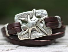 Silver Starfish Leather Bracelet Leather Wrap Bracelet by amyfine