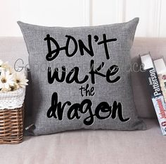 Don't Wake the Dragon Gray Linen Pillow Cover or Pillow with included Insert - we love this pillow for a boy's room! Perfect for knight or medieval room decor or fairy tale themes!
