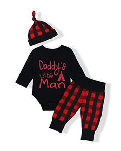 Oklady Baby Boys Girls Clothes Daddys Little Man Print Bodysuit Outfits Clothes Set With Months *** You can get additional details at the image link. (This is an affiliate link) Little Girl Outfits, Outfits With Hats, Baby Boy Outfits, Kids Outfits, Carters Baby Boys, Baby Boy Newborn, Stylish Baby Clothes, Boys And Girls Clothes, Babies Clothes