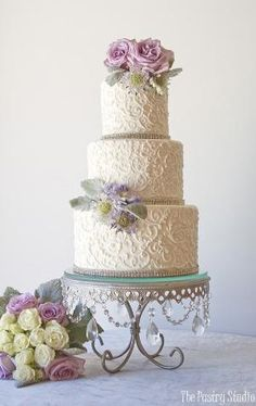Romantic Pale White Scroll Work Wedding Cake by lorrie
