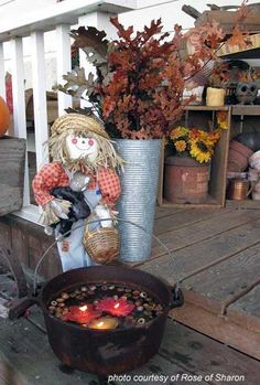 fall porch decorations with wash tubs | What a neat arrangement. The tub with floating candles adds lots of ...
