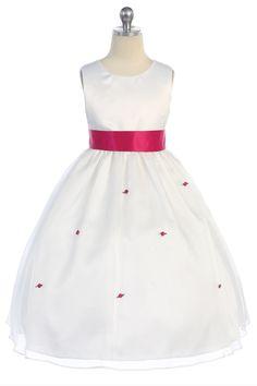 White Satin Bodice & Organza Overlayed Skirt with Red Satin Flower Girl Dress CD-515-FU CD-515-FU $53.95 on www.GirlsDressLine.Com