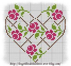 ♥ cross-stitch lattice roses heart