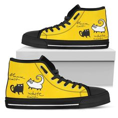 Black and white cat Women's High Top - Pick All You Want Yellow Cat, Shoe Boots, Shoes, Snug Fit, Converse Chuck Taylor, High Tops, High Top Sneakers, Footwear, Mens Fashion