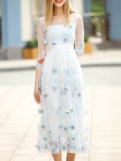 Blue Butterfly Applique Gauze Long Dress