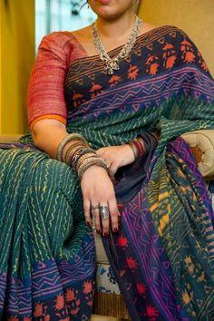 Vegetable dye block printed cotton handloom saree