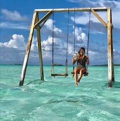 If You're Visiting the Bahamas Soon, You Must Track Down This 1 Hidden Gem - If You're Visiting the Bahamas Soon, You Must Track Down This 1 Hidden Gem Ocean Swing Set in the Bahamas Bahamas Honeymoon, Bahamas Vacation, Bahamas Cruise, The Bahamas, Exuma Bahamas, Greece Vacation, Caribbean Vacations, Dream Vacations, Vacation Trips