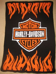 Harley Davidson Flames Hand Made Crocheted Afghan by cuddleupcreations, $225.00