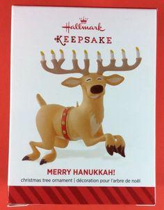 Hallmark 2014 Merry Hanukkah Reindeer Menorah Keepsake Christmas Ornament NEW