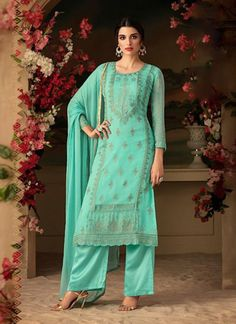 Awesome Turquoise Color Georgette Designer Palazzo Suit latest designer silk punjabi, party wear georgette salwar suit, and in all fabrics available at VJV New Years Eve Dresses, Designer Anarkali, Turquoise Color, Teal, Indian Ethnic Wear, Salwar Suits, Cotton Dresses, Indian Fashion, Glamour
