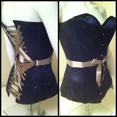Dark Knits Boutique in Edmonton, AB Canada offers custom overbust fan-laced corsets ($344 CAD)
