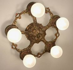 SWEET 20's Antique Vintage Art Deco 5 Light Ceiling Fixture CHANDELIER