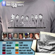 """Fully customized """"Groom's Party"""" T-Shirt with illustrations of the groom & groomsmen"""
