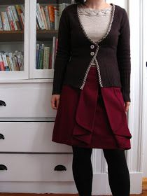 DIY Two-Button Cardigan refashioned from a boxy, too big turtleneck.