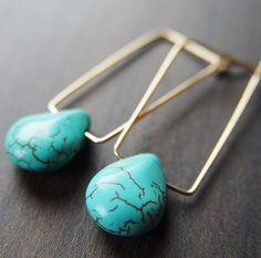 Rectangular Turquoise Earrings  14k Gold Filled by friedasophie
