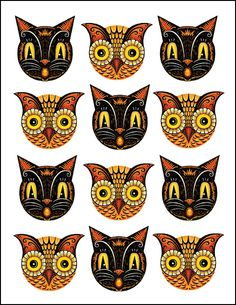 Owl And Cat Printable Cupcake Toppers