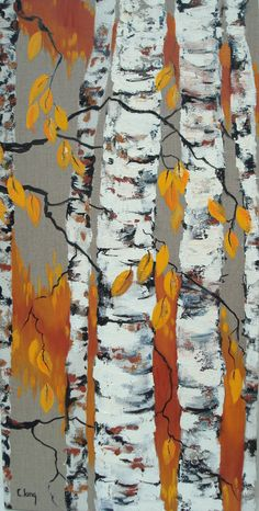 "http://chalang.wordpress.com .""Bouleaux en automne""mix media 80 x40cm by Chantal Lang"
