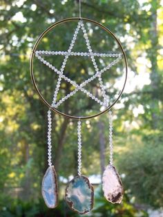 Windchime Pentacle with Agates Witch Wiccan Pagan Craft inspiration-- I really like this only maybe with some other kind of material for the pentacle