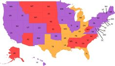 Congratulations to all the new marriage equality states! (Purple states are legal - Yellow states are still on hold)