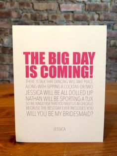 Personalized Will you be My Bridesmaid Cards  by LittleLadyCompany, $4.00