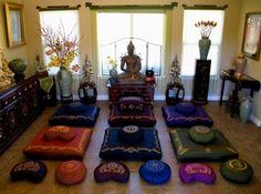Meditation Cushion Zafu & Zabuton Sets - Sacred Symbols : http://www.boonmee.com/matching-zafu-zabuton-sets-meditaion.html