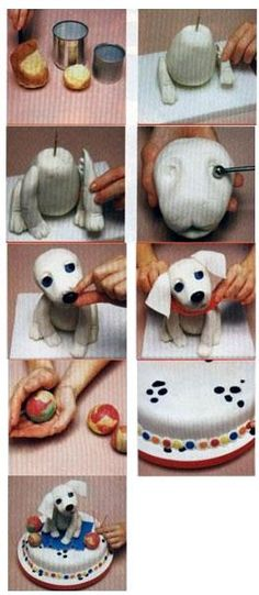Nathan would love this puppy cake... or just the puppy made out of fondant or polymer clay.