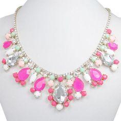 Elegant Flower Floral Pink Tear Drop Neon Necklace Multi Rhinestone Crystal