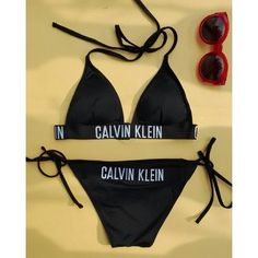 Calvin Klein Triangle Bikini Top ❤ liked on Polyvore featuring swimwear, bikinis, bikini tops, swim top, triangle swimwear, calvin klein, swimsuit tops and triangle bikini top