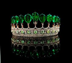 This royal emerald and diamond tiara formerly in the collection of the Swedish Princess Katharina Henckel Von Donnersmarck, was possibly made by Chaumet