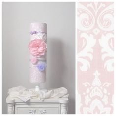 DESCRIPTION: This holder measures approximately 24 tall attached to a white wood base. Holder circumference approximately Listing Stretchy Headbands, White Damask, White Wood, Kids Room, Room Decor, Headband Holders, Fabric, Pink, Handmade