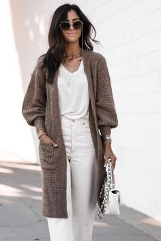 Open Front Waffle Knit Texture Long Cardigan - Brown / M / 65%Acrylic+35%Polyamide