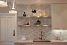 backsplash with ss shelves above sink | Gallery 15 Images of Sophisticated Stainless Steel Floating Shelves ...
