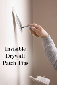 Drywall patching tips and tricks. Good tips for patching drywall and making it look professional. How To Patch Drywall, Drywall Repair, Patching Drywall, Drywall Finishing, Plaster Repair, Drywall Tape, Home Renovation, Home Remodeling, Do It Yourself Furniture