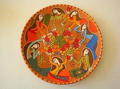 Armenian hand painted ceramic platter
