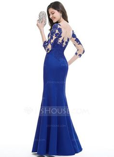 Trumpet/Mermaid Scoop Neck Floor-Length Zipper Up Covered Button Sleeves 3/4 Sleeves No Other Colors Winter Spring Summer Fall General Plus Satin Hight:5.7ft Bust:32in Waist:24in Hips:35in US 2 / UK 6 / EU 32 Evening Dress