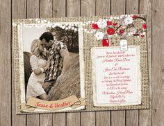 Red White Rustic Wedding Invitation burlap by MissBlissInvitations, $15.00
