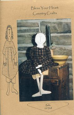 """FREE US SHIP Bless Your Heart Country Crafts 23"""" Doll Bella Primitive Folk Art Uncut New Old Store Stock Sewing Pattern Ragdoll cloth by LanetzLivingPatterns on Etsy"""