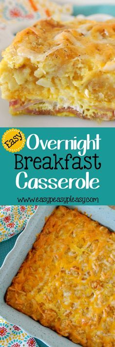 This easy overnight breakfast casserole is the perfect dish to prepare the night before and throw in the oven the morning for a hot breakfast! It's the perfect hearty and delicious 4 ingredient breakfast!