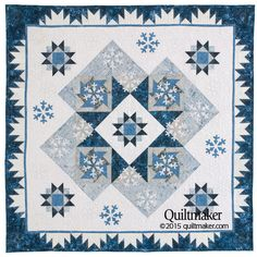 "Winter Storm Warning quilt pattern: Stars and snowflakes make a charming pair in this 62"" x 62"" winter-themed quilt designed by Jo Moury."