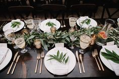 eucalyptus garland, gold rimmed glassware and gold plated flatware makes for a perfectly organic and beautiful garden wedding.  brightwood photography