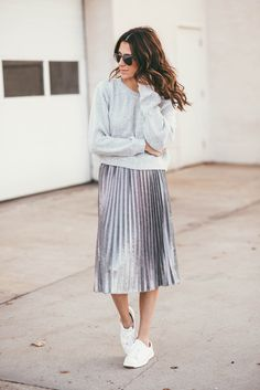 Sweater + Metallic Pleated Midi Skirt + Sneakers
