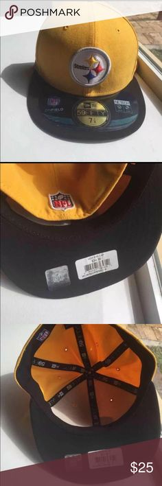 New! Pittsburgh Steelers Fitted Cap Brand new with tag! New Era Cap 59 Fifty Size 7 1/8 Black and Yellow Pittsburgh Steelers fitted cap hat NFL On Field Football NFL Accessories Hats