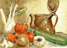 note di acquerello: ACQUERELLO NATURA MORTA - Watercolor still life