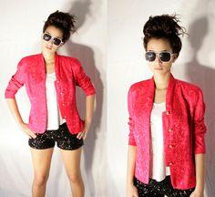 Vintage 80s Bright Pink Silk Colorblock Jacket by lapetitemarmoset