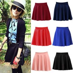 Women-Cotton-Vintage-Stretch-High-Waist-Skater-Flared-Pleated-Skirt-Dress-ES