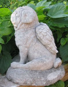 Concrete Angel Pug Dog Statue or memorial East by springhillstudio