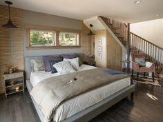 Blog Cabin's master bedroom features a high-tech bed with custom settings >> http://www.diynetwork.com/blog-cabin/2015/master-bedroom-pictures-from-diy-network-blog-cabin-2015-pictures?soc=pinterestbc15