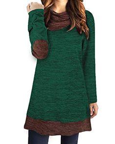 2befcd8e84e STYLEWORD Women s Long Sleeve Drape Scarf Neck Patchwork Casual Tunic Top.   amazonus  amazon  tunics  wintertunics  christmas  christmasshopping ...