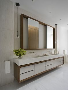 : Sensational Upper East Side Apartment Contemporary Bathroom Design With Modern Bathroom Vanities Furniture Ideas Modern Bathroom Mirrors, Bathroom Vanity Designs, Retro Bathrooms, Contemporary Bathroom Designs, Bathroom Ideas, Vanity Bathroom, Mirror Vanity, Mirror Trim, Modern Vanity